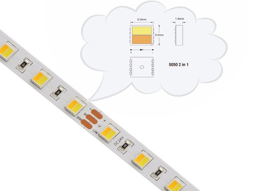 cct led strip, tunable led strip, 5050 strip